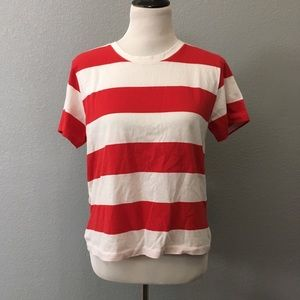 Everlane 100% cotton Red white Striped Shirt M